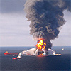 Aerial photo of gulf oil spill fire
