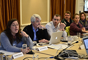 Laura Vandenberg, Ph.D., left, contributes to the discussion  on assay development, as Tom Zoeller, Ph.D., center, and Wim Thielemans, Ph.D.,  look on.
