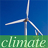 Wind turbine with teh word 'Climate' superimposed