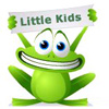 Cartoon frog holding a sign that says, 'Little kids'