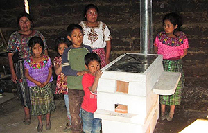 Guatamalan family with their new stove