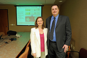 NIEHS Superfund Research Program (SRP) Health Scientist Administrator Heather Henry, Ph.D., and NIEHS grantee Patrick James, Ph.D.