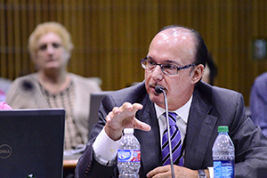 Guilarte speaking into a microphone during discussions
