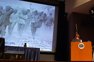 Linda Birnbaum, Ph.D. with slide of WTC