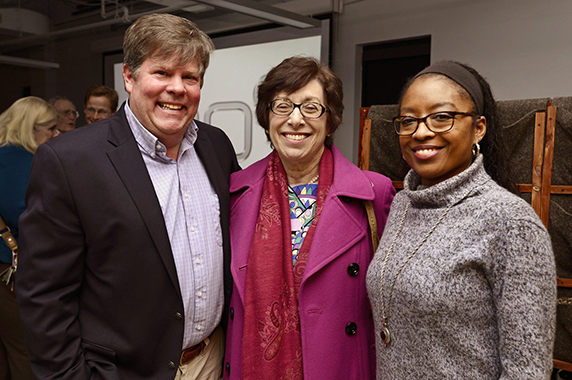 Birnbaum, center, enjoyed speaking to the lively audience. She was accompanied by Ericka Reid, Ph.D., right, NIEHS Office of Science Education and Diversity (OSED) director, and John Schelp, left,