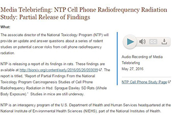 Screenshot of Media Telebriefing: NTP Cell Phone Radiofrequency Radiation Study: Partial Release of Findings