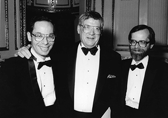 Dr. Alan Leviton (L), Dr. Herbert Needleman, and Dr. David Bellinger (R) at the Charles A. Dana Foundation Award ceremony in 1989. Needleman won an award for his research on lead poisoning.