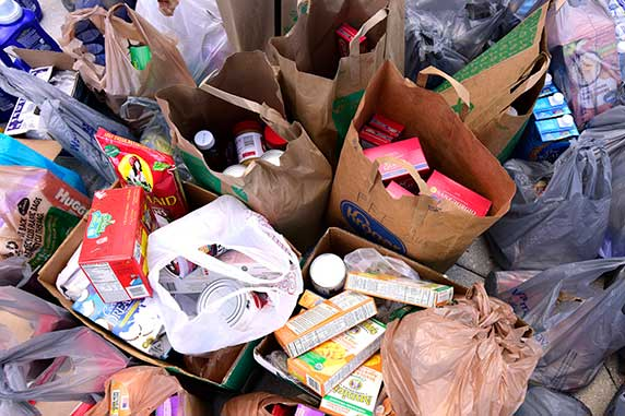 wide variety of nonperishable food, diapers, and other crucial items