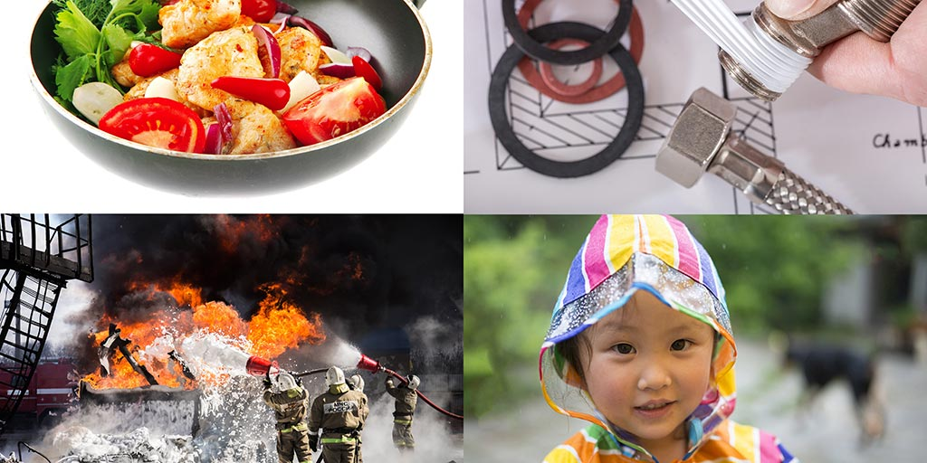 four images including a pan with food in it, fingers wrapping tape around a thread, young child, firefighters fighting a fire