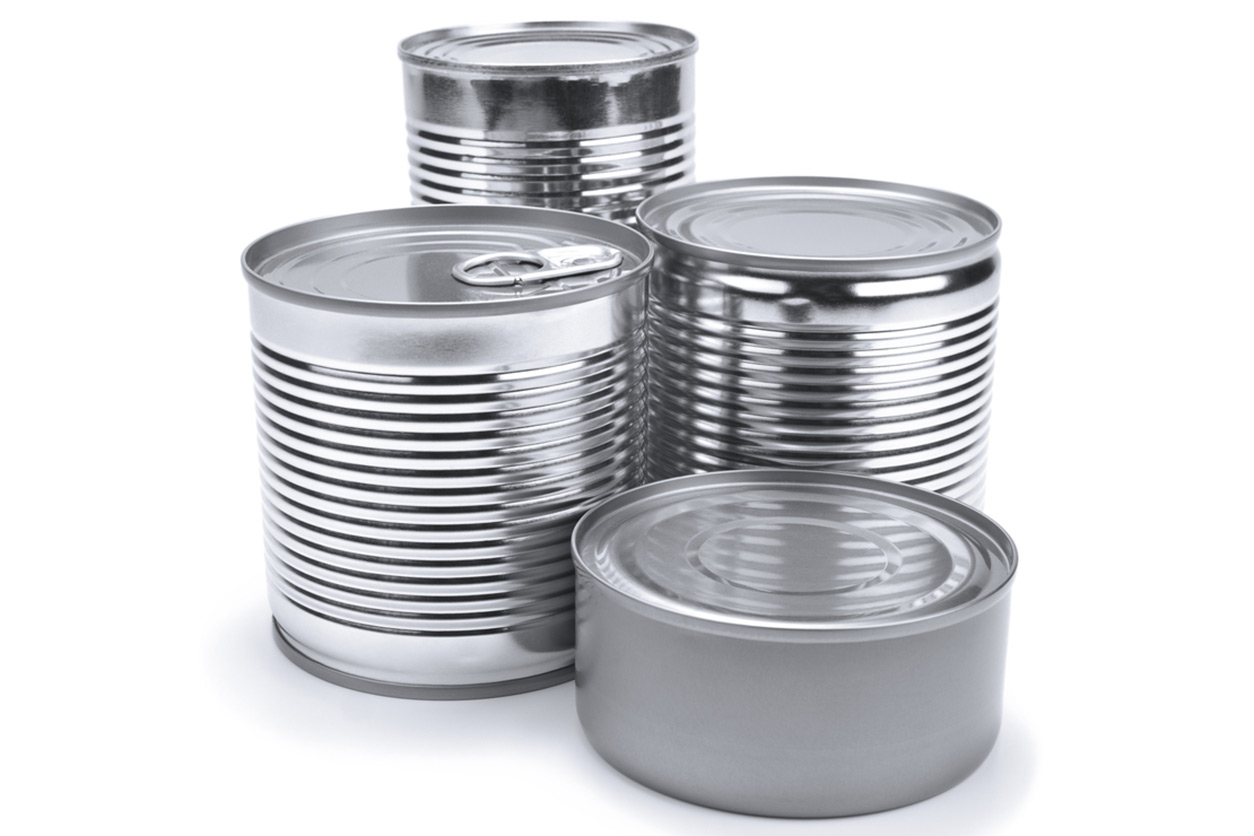 photograph of four metal cans
