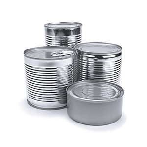 photograph of metal food cans