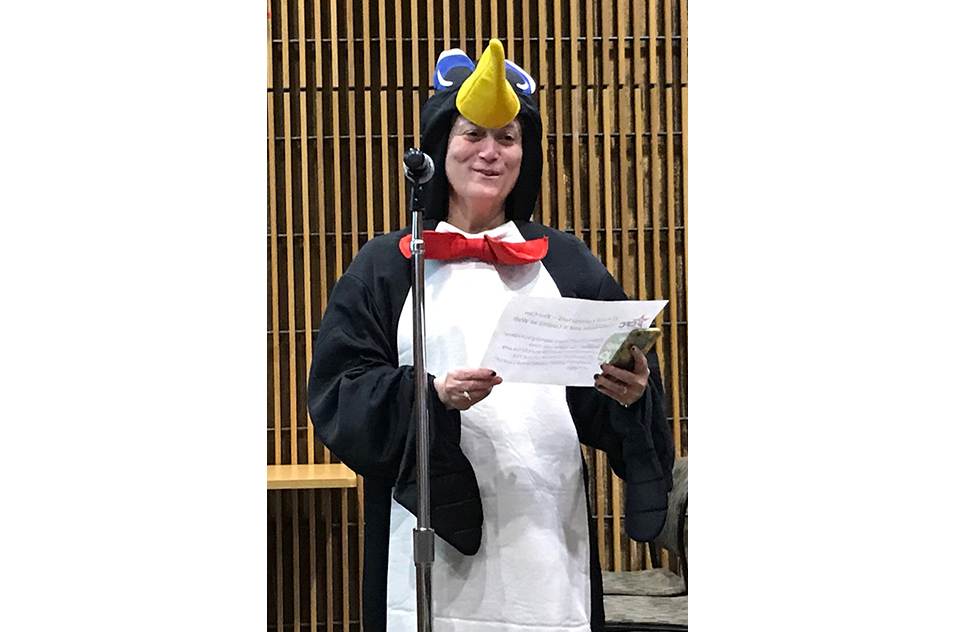 Gwen Collman in penguin outfit