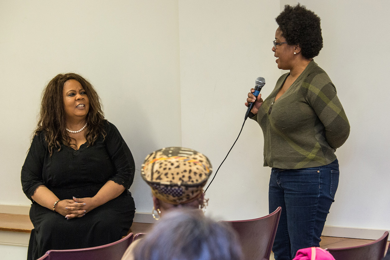 Richardson (left) entertained a question from the audience.