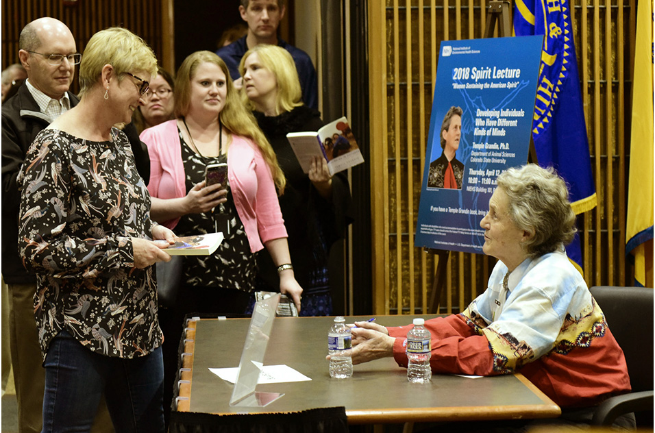 Maggie Humble at a book signing for Temple Grandin