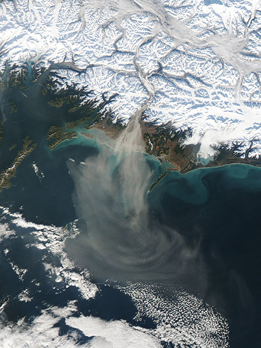 Aqua took this image of northerly winds blowing dust from the Copper River Delta over the Gulf of Alaska on Oct. 28, 2014.