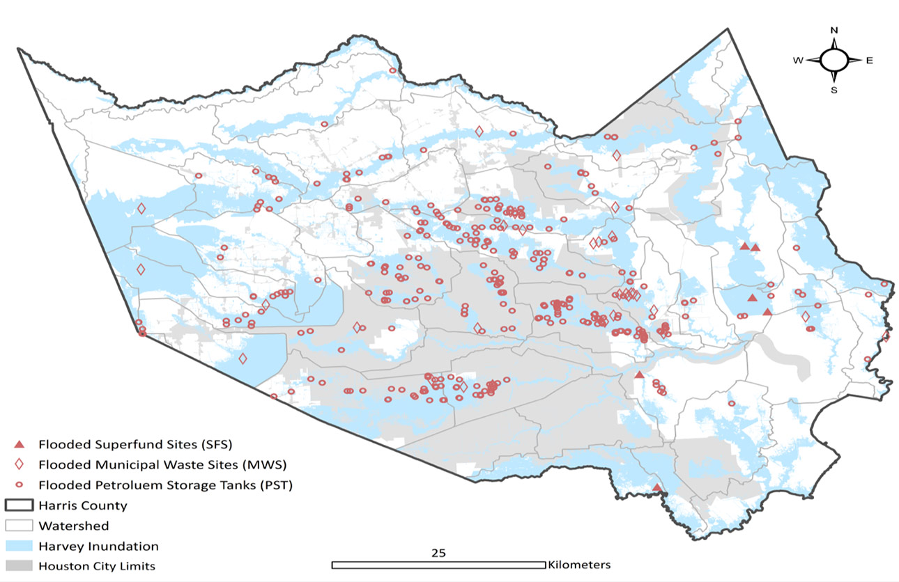 map of flooded areas and waste/chemical sites in Harris County, TX