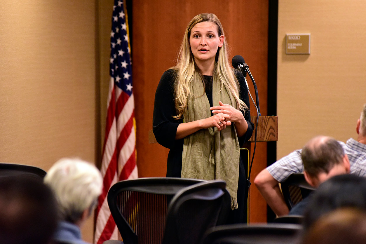 Marissa Sobolewski, Ph.D. speaks to attendees