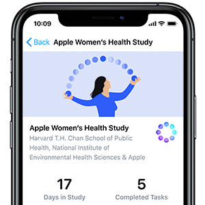 Screenshot of the women's health study on an Apple iPhone and watch