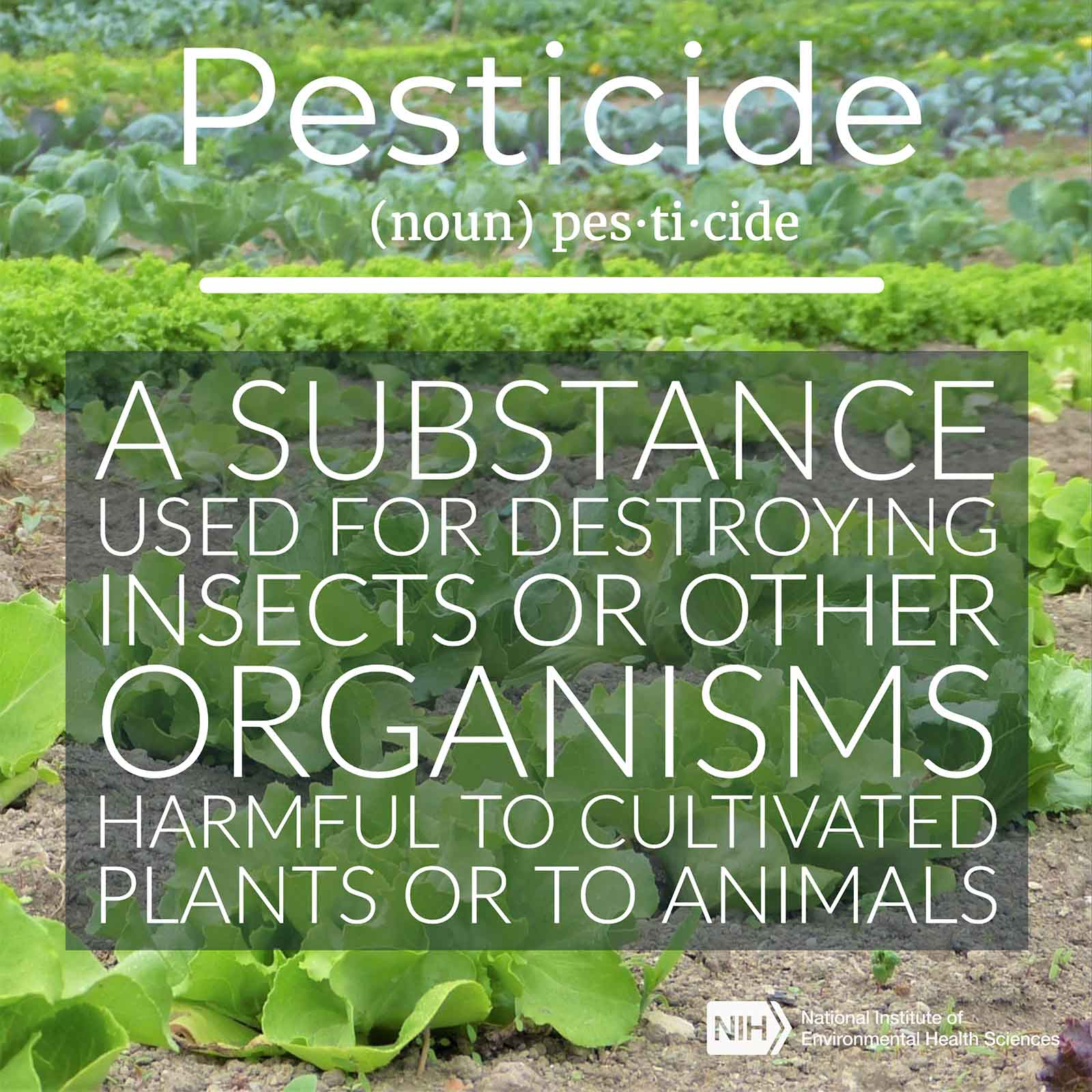 Pesticide (noun) described as a substance used for destroying insects or other organisms harmful to cultivated plants or to animals