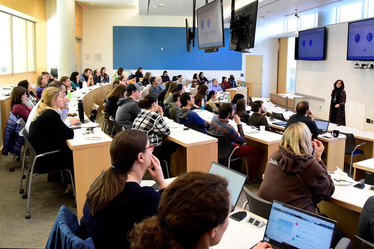A room full of students and faculty at Duke University