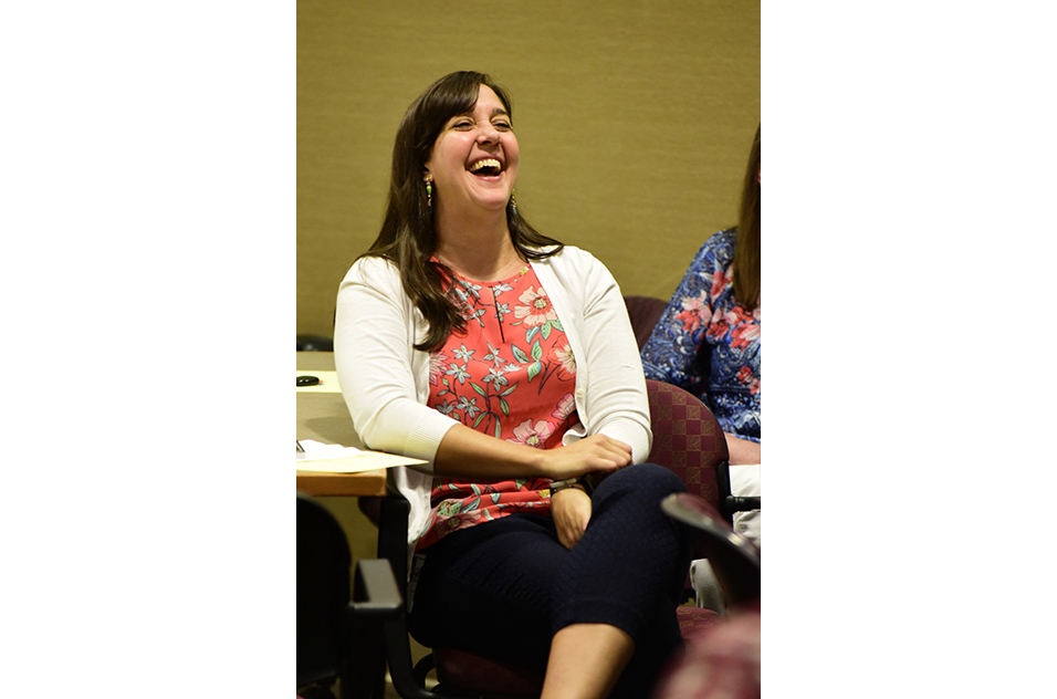 Attendee, Nicole Popovich, laughing during the training