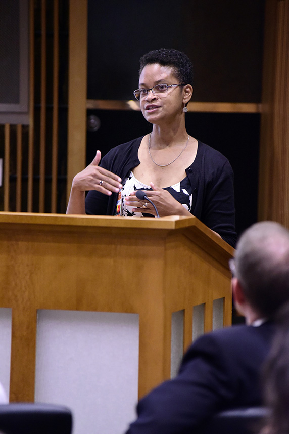 Tonia Poteat, Ph.D., speaking to the audience