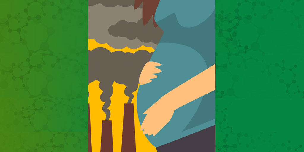 pregnant woman with hands on belly and smokestacks in background graphic