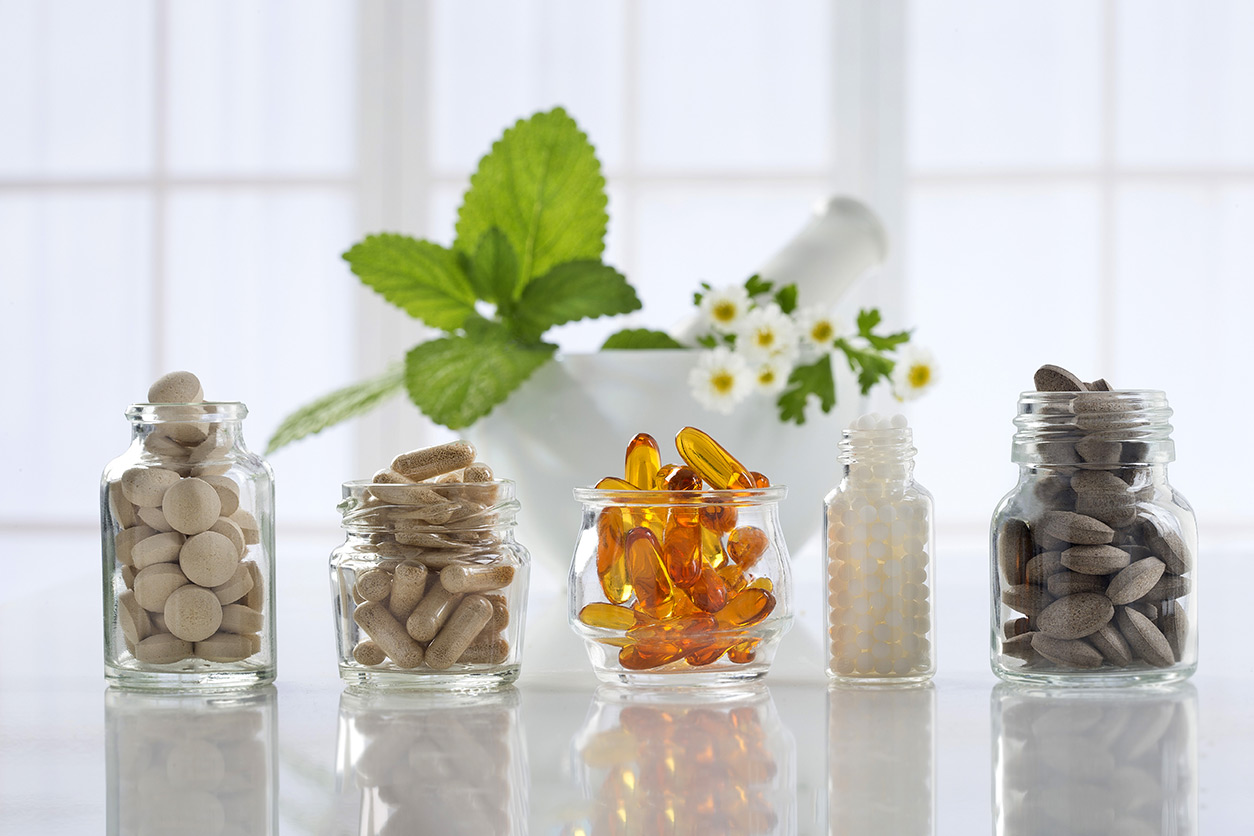 Botanical supplements in glass jars
