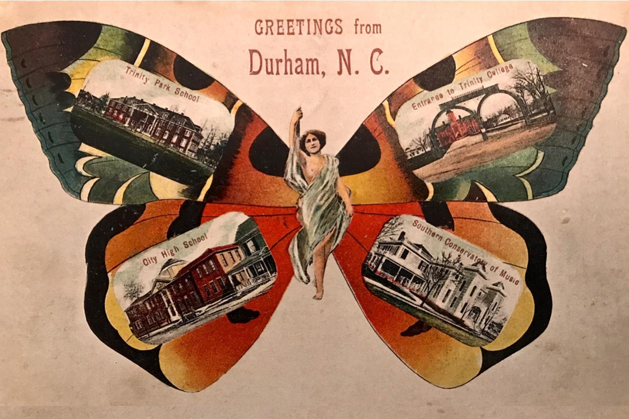 Greetings from Durham, NC postcard with a butterfly image, old postcards in the wings, and a woman in a toga in the center