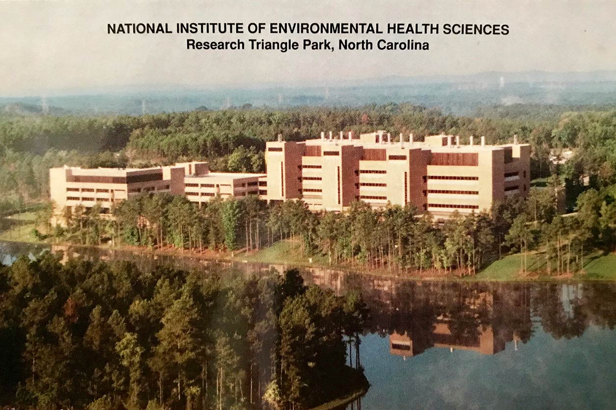 old postcard of National Institute of Environmental Health Sciences, Research Triangle Park, North Carolina