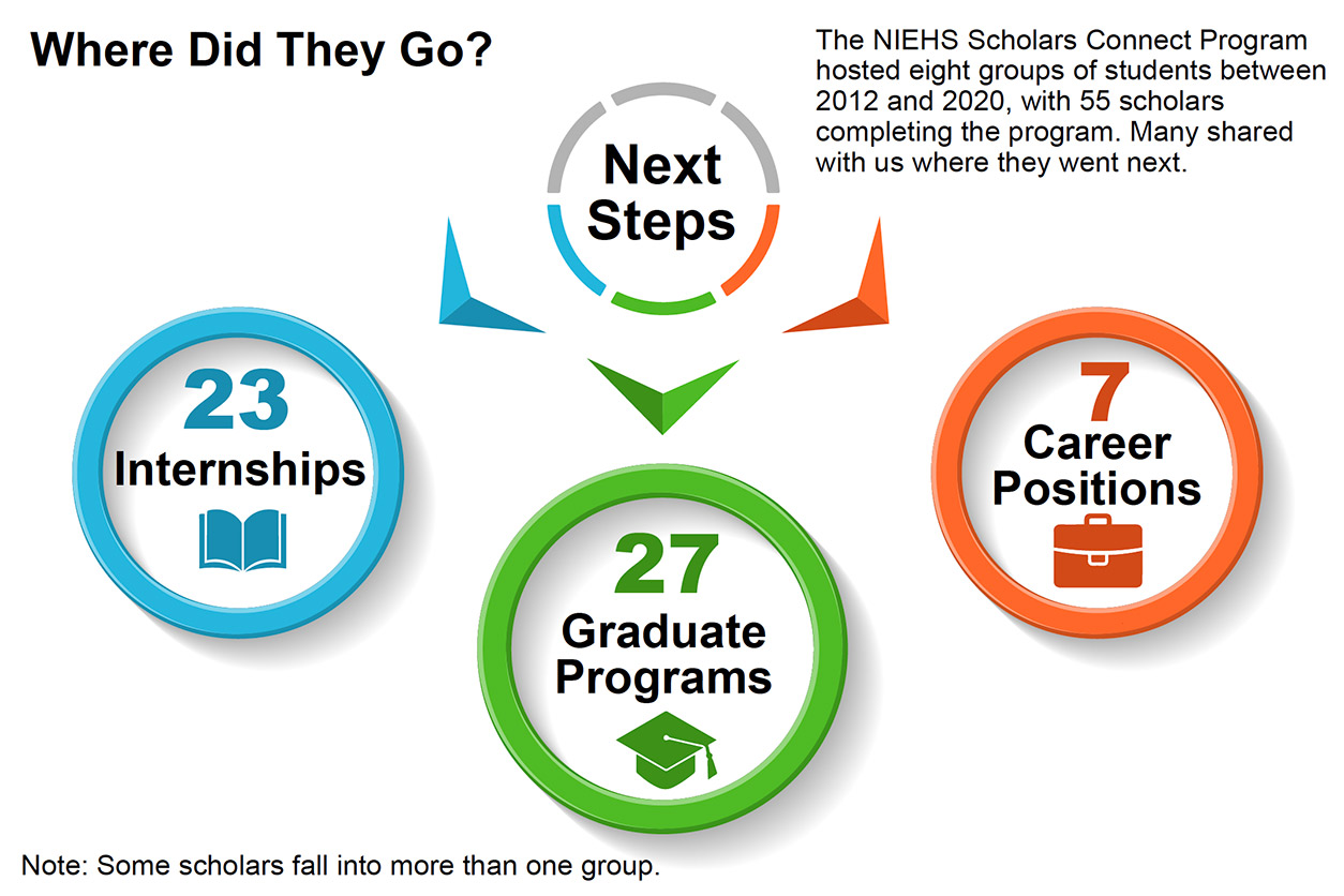 The NIEHS Scholars Connect Program hosted eight groups of students between 2012 and 2020, with 55 scholars completing the program. Many shared with us where they went next. Where Did They Go? Next Steps, 23 internships, 27 graduate programs, 7 career positions. Note: Some scholars fall into more than one group.
