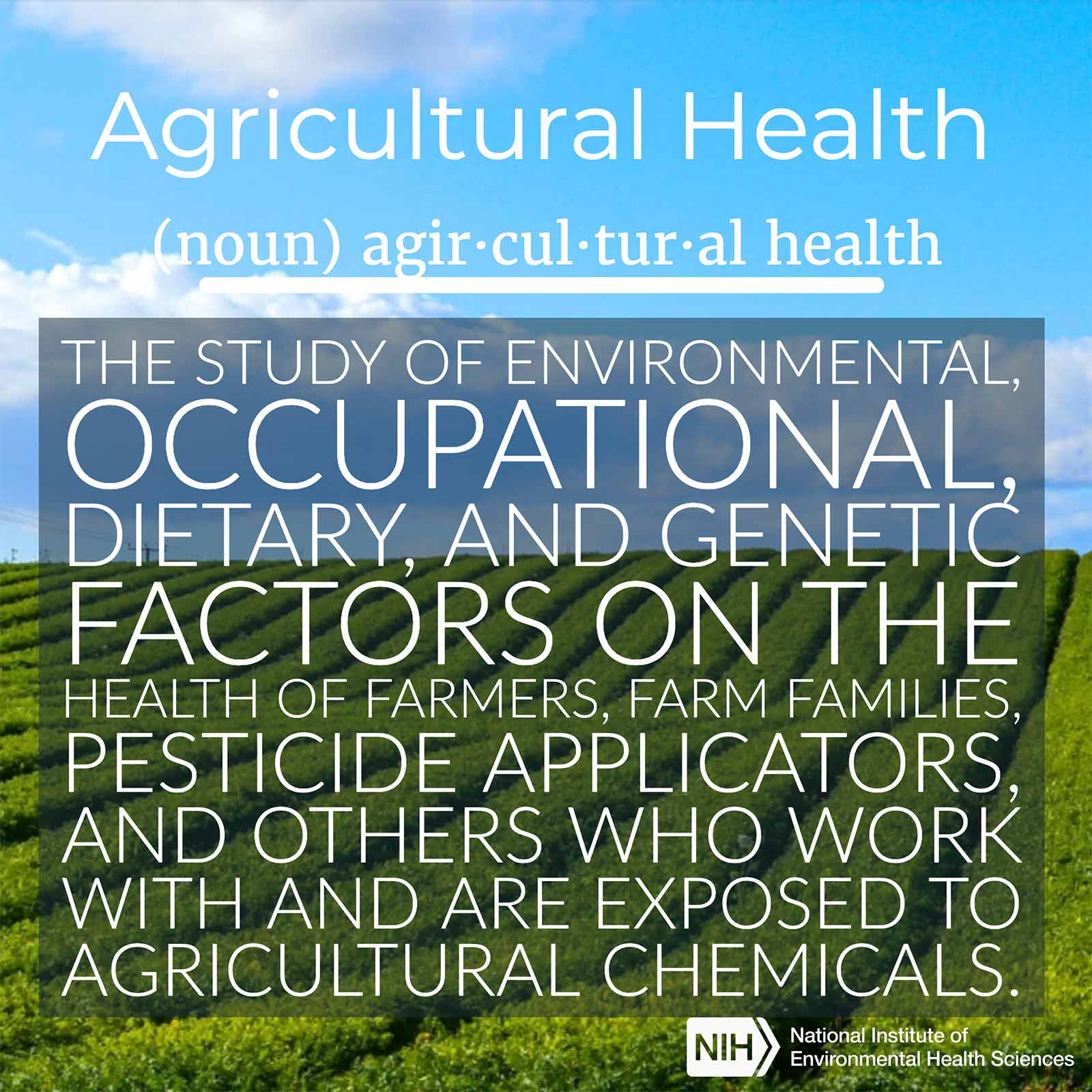 "Agricultural Health (noun) defined as ""the study of environmental, occupational, dietary, and genetic factors on the health of farmers, farm families, pesticide applicators, and others who work with and are exposed to agricultural chemicals."""