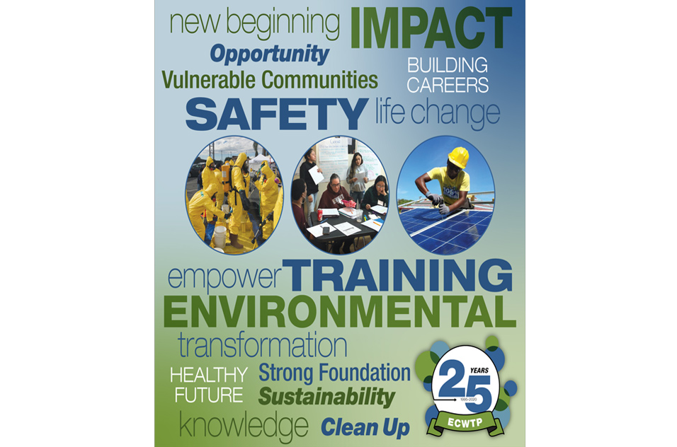 ECWTP themes includes: new beginning, impact, opportunity, vulnderable communities, building careers, safety, life change, empower, training, enironmental, transformation, healthy future, strong foundation, sustainability, knowledge and clean up.